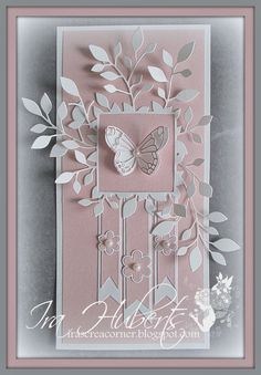 Poppystamps Butterfly card April 2014 HOW pretty is this card - really beautiful work Butterfly Cards, Flower Cards, Pretty Cards, Cute Cards, Memory Box Cards, Memory Box Dies, Birthday Cards For Women, Card Making Inspiration, Paper Cards