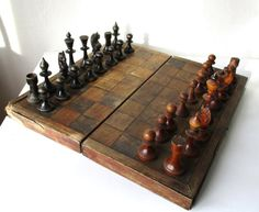 Wooden Chess Set Large Antique Complete Chess 14 by MerilinsRetro