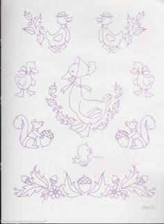 8 RARE Vintage Ducks & Squirrels Repeat Iron Transfers For Embroidery Painting