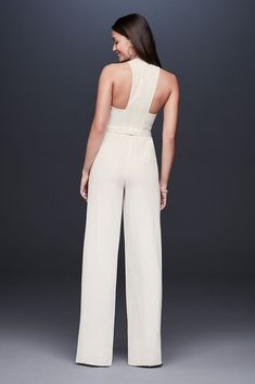 Crepe Jumpsuit with Crystal Belt Style Ivory, 14 Racerback Crepe Jumpsuit with Crystal Belt Suit Fashion, Fashion Dresses, All White Party Outfits, Vestidos Zara, Wedding Jumpsuit, Jumpsuit Pattern, Looks Chic, Davids Bridal, Forever21