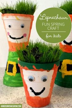 What a lucky little leprechaun craft for St. Such a cute spring and gardening theme connection with the DIY Chia Pet idea! St Patrick's Day Crafts, Preschool Crafts, Crafts To Make, Crafts For Kids, Diy Crafts, St Patrick's Day Games, Chia Pet, Soil Layers, Rainbow Crafts