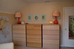 Three kids in one room. Love the dresser set up. Similar to what I have in closet with sterilite drawes. Will have to upgrade to three real dressers eventually. :)