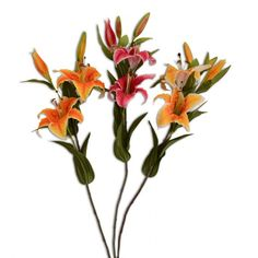 Artificial Stargazer Lily Flower Spray Stems For The Home Three Colours Available £3.99