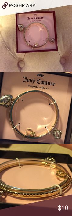 """Nwt Juicy Couture Bangle Charm Bracelet New with tags Juicy Couture bangle bracelet. Three charms are a crown, ring and a heart that says """"Juicy Couture."""" Great side detail. Juicy Couture Jewelry Bracelets"""