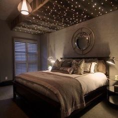 @ashleykmitchell♏ @ashleykmitchell♏ Star Ceiling, Starlight Ceiling, Accent Ceiling, Basement Bedrooms, House Goals, Home Projects, Heim, Quartos Tumblr, Beautiful Bedrooms