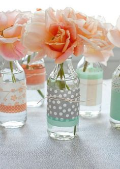 Vases decorated with Washi tape.