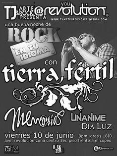 Viernes 10 de junio te invitamos a disfrutar de una noche de Rock en español con Tierra Ferti con l rolas de MALDITA / HEROES /CAIFANES / SODA STEREO / ENANITOS VERDES /  CADILACS y Muchos masinvitados especiales  / Memorias / Unanime & Dia Luz tocando covers y canciones originales / Entrada Gratis / Evento para mayores de 18 ID / 9 PM
