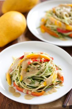 Mango veggie noodle bowls with creamy ginger dressing (avocado oil in dressing)