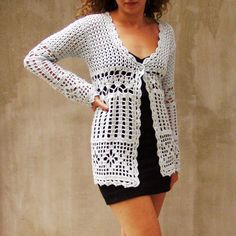 Made To Order Hand crocheted Elegant Lace Cardigan by HEraMade, $225.00