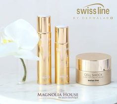 Follow our daytime collagen-rich anti-wrinkle routine to achieve younger-looking, radiant skin:  1. Apply our silky-smooth Cell Shock 360° Anti-Wrinkle Serum  over entire face for a visible line-filling effect. 2. Follow with luxurious infusion-serum Cell Shock 360° Anti-  Wrinkle Eye Zone Serum to recreate a perfect eye zone. 3. Finish with dewy Luxe-Lift Rich Cream fortified with Gold &  Silk Complex to revitalize and lift the skin, leaving it silky-  soft. Perfect Eyes, Gold Silk, Magnolia Homes, Radiant Skin, Anti Wrinkle, Collagen, Serum, Routine, Perfume Bottles