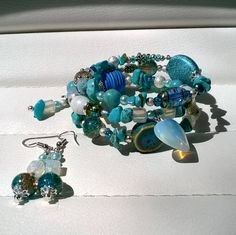 Boho Bracelet Stunning Turquoise and SIlver Beaded Memory Wire Bracelet With Matching Earrings Beautiful and Unique Jewellery Set by STRICTLYBOHOltd on Etsy