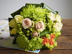 Green bouquet with spider mums and roses by Jane-Packer-Delivered-Summer-2012-Piccadilly-Circus