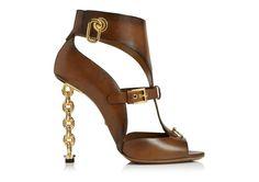 Leather Gladiator & T-strap Sandal With Chain Heel ( Splendide)