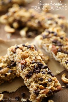 Almond Cashew Granola Bars from chef-in-training.com… these granola bars of chewy, delicious and have the right amount of crunch! They are the perfect snack!
