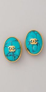 vintage chanel cc turquoise earrings