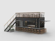Shipping Container Cafe #3 3D Model