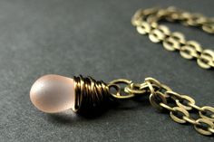 Teardrop Necklace. Frosted Pink Teardrop Necklace in Bronze. Bridesmaid Necklace. Handmade Jewelry. by TheTeardropShop from The Teardrop Shop. Find it now at http://ift.tt/1fYDWKu!