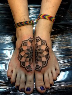 Mandala foot tattoo by aireelle - Alluring mandala foot tattoos. Designed as separate from each foot but still in complete symmetry when joined together perfectly depicts the meaning behind mandalas.