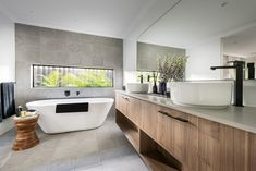 On the straight and narrow. The narrow bathroom window adds a touch of excitement to this stunning bathroom design by Dale Alcock Homes. Mold In Bathroom, Narrow Bathroom, Reece Bathroom, Bathroom Fixtures, Dream Home Design, House Design, Display Homes, Wet Rooms, New Home Designs