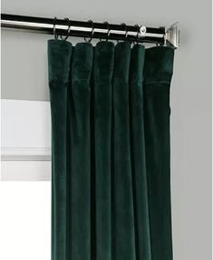 """Exclusive Fabrics & Furnishings Heritage Plush Velvet 50"""" x 108"""" Curtain Panel & Reviews - Window Treatments & Blinds - Macy's Emerald Green Curtains, Panel Curtains, Window Treatments, Blinds, Plush, Velvet, Windows, Curtain Panels, Shades Blinds"""