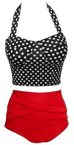 Swimsuit Swimwear Vintage Push Up High Waist Bikini Set. Black and white polka dots and red bottoms.