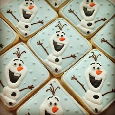 Make your Frozen party magical with these 15 amazing Disney Frozen Inspired Cookies. Your guests will be blown away by these creative desserts at your party Olaf Cookies, Disney Cookies, Galletas Cookies, Cookies For Kids, Iced Cookies, Cute Cookies, Holiday Cookies, Royal Icing Cookies, Cupcake Cookies
