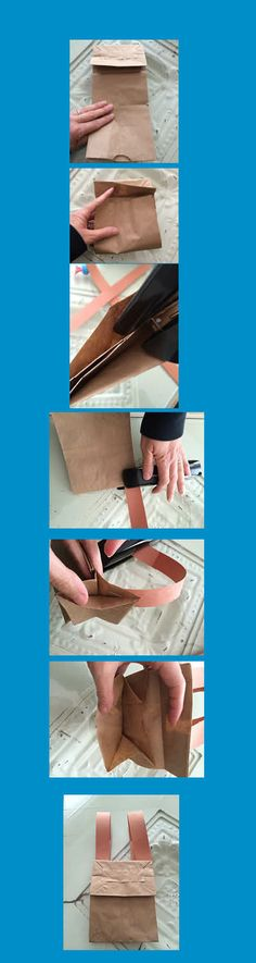 """2's curriculum, Week 2, """"Backpack""""  Step 1: Place the bag upside down with the flap facing you. Opening will be at the bottom. Step 2: Fold the bottom up so it fits just under the flap. Step 3: Staple the sides of the bag together, stapling the """"insides"""" only. Step 4: Staple the each strap to the bottom of the backpack. Step 5: Staple the other ends of the straps to the top (flap part) by inserting the stapler inside the side edge of the flap."""