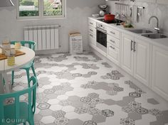 Hexagonal tile imitation cement tiles, with many decors for an old decoration in your interior. Find the atmosphere of the tiles, the aesthetics, without the di White Kitchen Floor, Best Flooring For Kitchen, Kitchen Tiles, Kitchen Grey, Grey Floor Tiles, Grey Flooring, Küchen Design, Floor Design, Interior Design