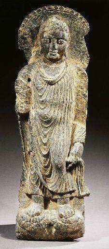 a gandhara schist figure of buddha shakyamuni 2ND/3RD CENTURY