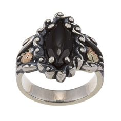 Black Hills Gold and Silver Onyx Ring   Overstock.com Shopping - The Best Deals on Gemstone Rings