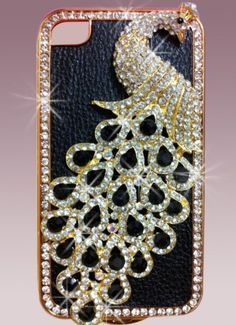 Luxury Designer Bling Crystal Case Handmade Blue Peacock for Apple Iphone 4 and 4s