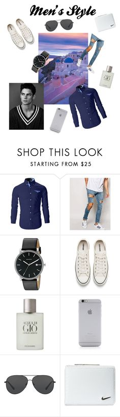 """""""Men's Style"""" by worldrecord ❤ liked on Polyvore featuring ASOS, Skagen, Converse, Giorgio Armani, Native Union, Michael Kors, NIKE, men's fashion and menswear"""