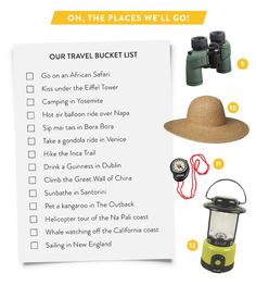 Couple's Adventure Bucket List... I would change the hot air balloon ride to Cappadocia, Turkey instead of Napa!
