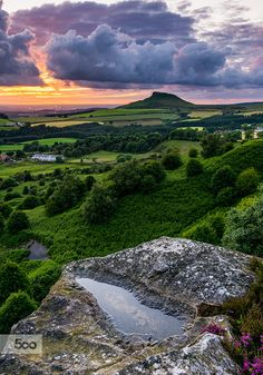 Sunset over Roseberry Topping from Cockshaw Hill North Yorkshire Moors.