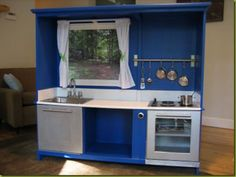 Oh My Aweness An Old Entertainment Stand Repurposed Into A Play Kitchen.