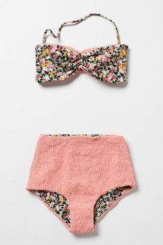 retro bikini swimsuit  |  bandeau top + high waist bottoms