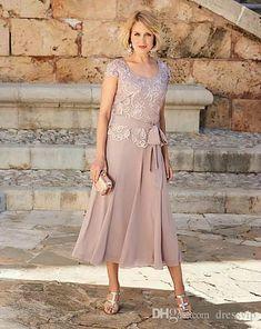 Elegant Mother Of The Bride Dresses Scoop Neck Applique Formal Gowns Sash Tea Length A Line Chiffon Short Sleeve Wedding Guest Dress