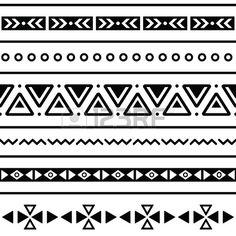 アステカのシームレスなパターンは、部族の黒と白の背景 写真素材