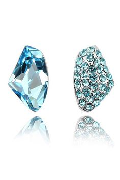 XCrystal - Modern Crystal Studs Earrings In Light Blue