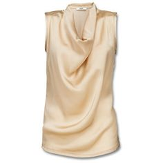 Elegant sleeveless top with back panel in viscose tricot. Finished with front panel in luxurious satin A waterfall neckline creates flowing lines that give this piece a supremely feminine quality. - at Mexx Online Store Europe Beige Shirt, Satin Shirt, Street Hijab Fashion, Fashion Outfits, Beige Top, Professional Attire, Dressy Tops, Modern Outfits, Everyday Fashion