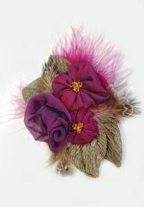 Set of Three Purple - Red Flowers--Collection Felicia / Style # 1206. 100% silk, marabou & pheasant feather, Swarovski crystal