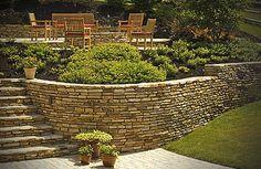 retaining wall idea. backyard step