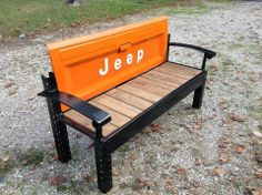 Awesome repurposed bench.