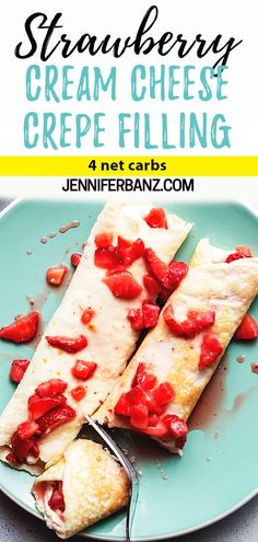 Keto Mint Chocolate Strawberry Fat Bomb are dairy free, peanut butter free and gluten-free. It makes the perfect snack and dessert. Strawberry Cream Cheese Dessert, Strawberry Crepes, Strawberry Breakfast, Breakfast Crepes, Cream Cheese Desserts, Strawberries And Cream, Strawberry Crepe Filling Recipe, Mexican Breakfast, Cream Cheese Crepe Filling