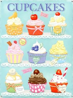 This Cupcakes Assortment Steel Sign features a weathered look that brings vintage bakery charm to your kitchen, dining room or restaurant! Cupcake Kunst, Cupcake Art, Cupcake Clipart, Cupcake Drawing, Cupcake Cross Stitch, Mein Café, Cupcake Pictures, Food Drawing, Baking Cupcakes