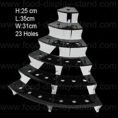 Black acrylic material mini ice cream cone holder stand, ladder shape, can be disassembled and flat packed, easy for shipping, cheap price, factory sales.