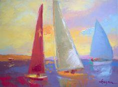 Colorful Sunset Sailboats Dorothy Fagan Art Sailing Regatta Seascape Abstract Coastal Painting Inspiring Passionate Peaceful