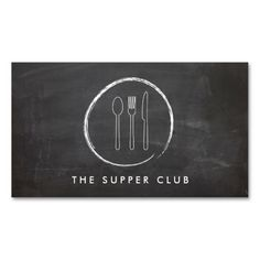 FORK SPOON KNIFE CHALKBOARD LOGO for Restaurant... Business Card. This great business card design is available for customization. All text style, colors, sizes can be modified to fit your needs. Just click the image to learn more!