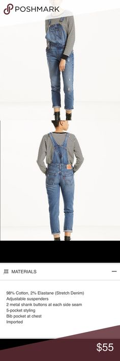 Levi's Overalls- NWT Levi's overalls in XS with front pocket Includes side buttons at the hip  Adjustable overall straps  Distressed look in the legs Perfect for spring! Levi's Other