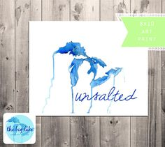 unsalted - great lakes - fresh water - watercolor art print - no sharks - summer - midwest - blue and white - 8x10 - michigan - beach